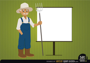 Farmer with presentation screen