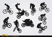 Bicycle motocross BMX silhouettes