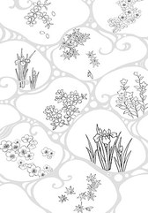 Japanese Line Drawing Of Plant Flowers Vector Graphic -47 (