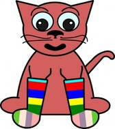Cartoon Cat In Rainbow Socks