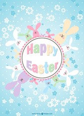 Easter bunnies floral card