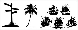 Road signs, coconut trees, sailing icon material