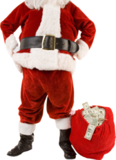 Santa Claus with money in the bag PSD