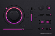 Musik Player UI Kit PSD, Dark Theme UI-design