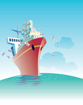 Illustrated The Theme Of The Commercial Shipping
