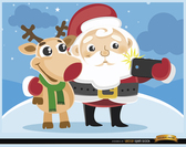 Cartoon Santa and reindeer selfie