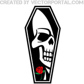 COFFIN WITH SKULL VECTOR IMAGE.eps