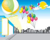 Flying balloons on the streets