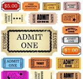 Set of ticket admit one
