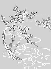 Vector Line Drawing Of Flowers-30(Plum Blossom, Flowing Water)