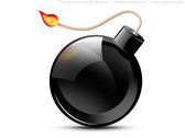 PSD black burning bomb icon