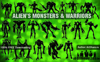 19 Alien's monsters & warriors