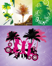 4 trees, vector illustrations subject material