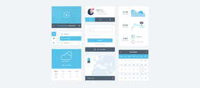 Blue Minimal Flat Web UI Kit