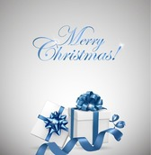 White Gift Box with Blue Bow for Christmas