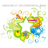 ORNAMENTS AND 3D STARS ABSTRACT VECTOR.eps
