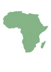 Map of Africa with countries in cylindrical equal area projection