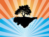 Vector Abstract Background with Tree Silhouette