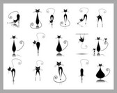 Stock Vector Illustration: Black cat silhouette collections