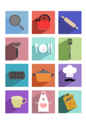 Cooking Utensils Long Shadow Icons