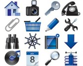 Stock Icons Vector Set for blue web