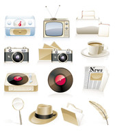 Nostalgia Theme Vector Camera Equipment Nostalgic Tv Toaster Coffee Cup Phonograph Vinyl Folder Quill Newspaper Hat Magnifying Glass