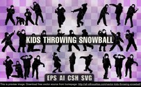 9 Vector kids throwing snowball