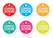 Starred Coming Soon Colorful Icons Set