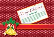 Christmas Gift Card with Bells on Dotted Background