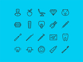 20 Dental Line Icons Set