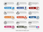 18 Social Share Toggle Switches Set PSD