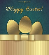 Happy easter golden design