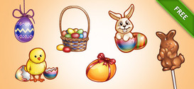 Ostern Grafik PSD-Set 2
