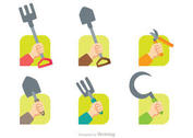 Gardening Hands Icons