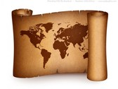Vintage Old World Map Parchment Scroll PSD