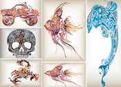 Flow Patterns Of Tropical Fish Dolphin Skull Scorpion
