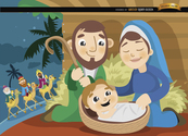 Joseph Mary Jesus Wise men cartoon
