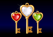 3 Gold Diamond Heart-Shaped Key