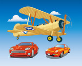 Vehicle Vector Graphic£ºPropeller-driven aircraft and sport car