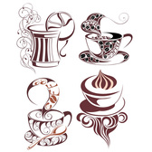 4 Decorated Coffee or Tea Cups Vector Set