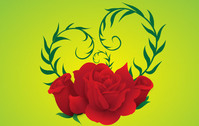 Free Vector Rose green background