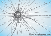 Sales Vector On Broken Glass
