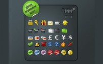 36 Glossy eCommerce Icons Pack PNG