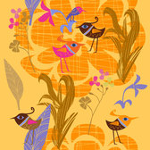 Lovely hand-painted flowers and birds