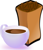Cup of Coffee with Sack of Coffee Beans