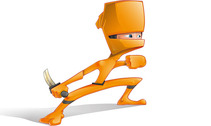 Orange Ninja Vector Character
