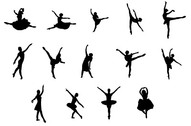 Vector People silhouette ballet moves material
