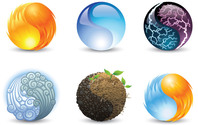 6 Taiji Yin Yang Ball Logotypes Set