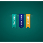 3 Cool Colorful Textured UI Ribbons Set PSD