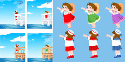 The little girl throwing the aircraft